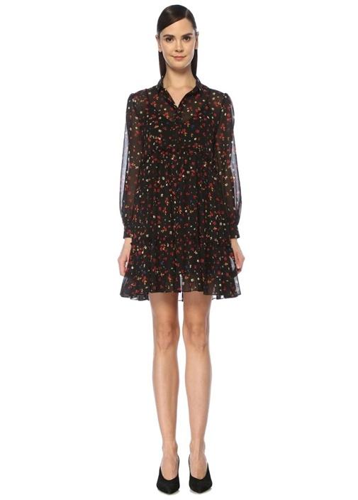 Siyah Çiçekli Mini Şifon Gömlek Elbise