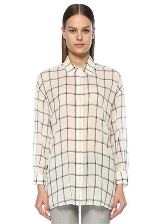 Beymen Club Kadın Beyaz İngiliz Yaka Kareli Bol Keten Gömlek S EU