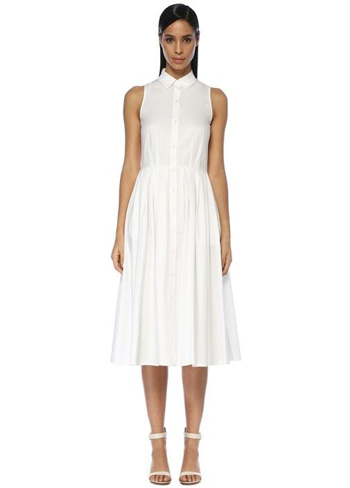 Beymen Club Beyaz İngiliz Yaka Midi Kolsuz Gömlek Elbise – 419.0 TL