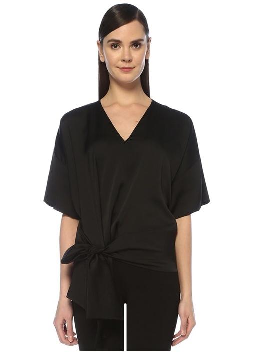 Siyah V Yaka Bağcık Detaylı Krep Bluz