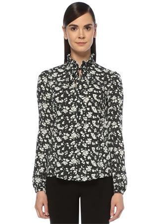 Beymen Club Kadın Siyah Yakası Bağcıklı Fırfırlı Çiçek Desenli Bluz M EU