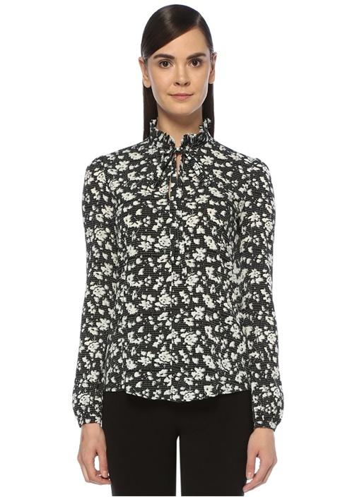 Siyah Yakası Bağcıklı Fırfırlı Çiçek Desenli Bluz