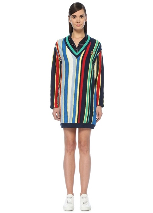 V Yaka Çizgili Mini Triko Elbise