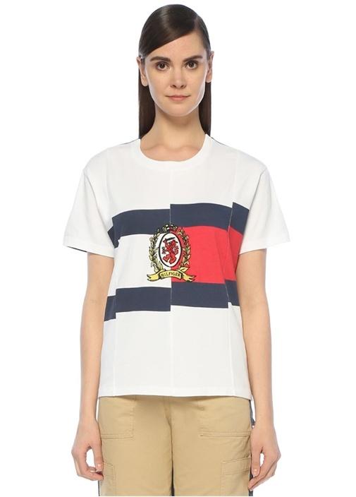Lacivert Beyaz Colorblock Logo Nakışlı T-shirt