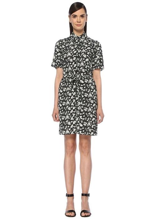 Beymen Siyah Çiçekli Kuşaklı Kısa Kol Mini Gömlek Elbise – 419.0 TL