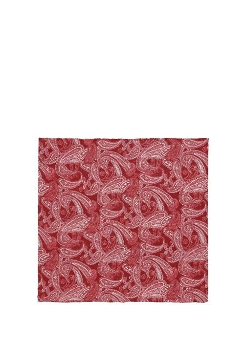 Kırmızı Şal Desenli Keten Poşet Mendil