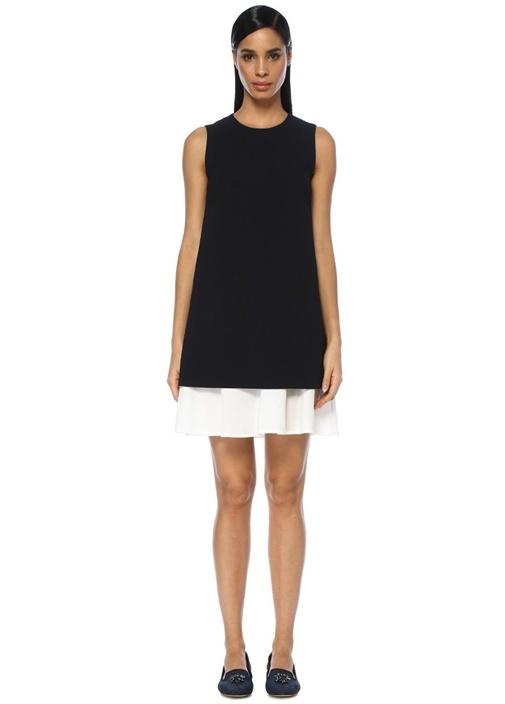 Lacivert Poplin İç Elbiseli Mini Krep Elbise