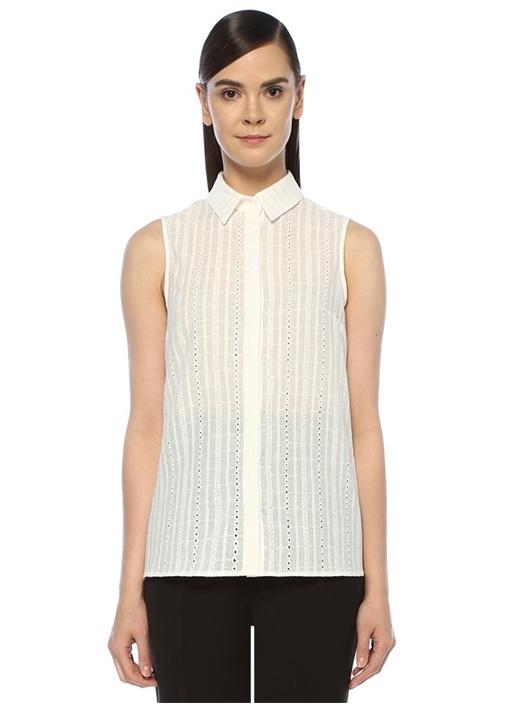 Beyaz Delikli Nakışlı Kolsuz Gömlek
