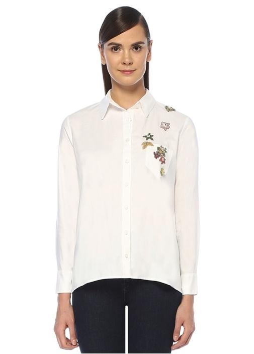 Beyaz Çiçek İşleme Detaylı Cepli OxfordGömlek