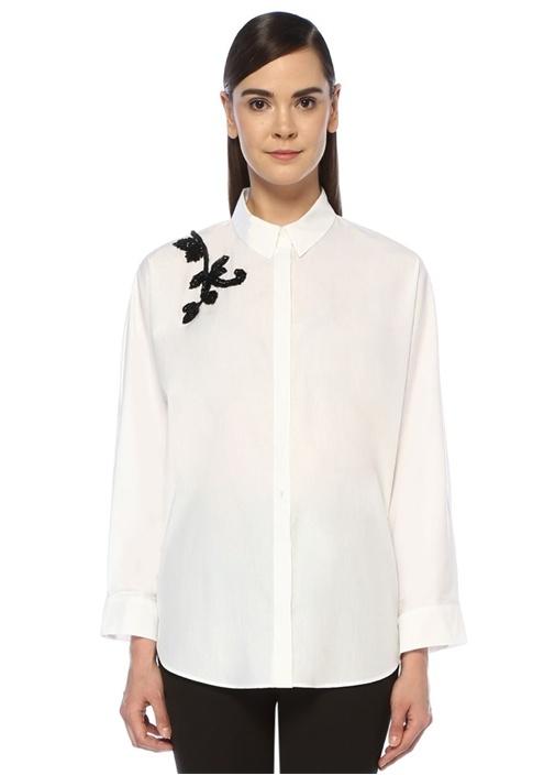 Beyaz Omzu İşleme Detaylı Poplin Gömlek
