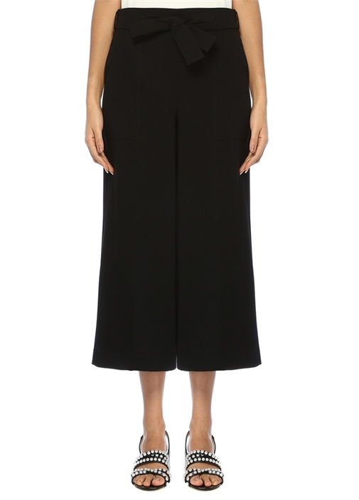 Siyah Beli Kuşaklı Krep Culotte Pantolon