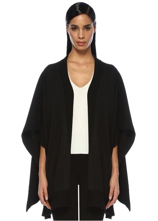 Siyah Kimono Formlu Arkası Garnili Hırka