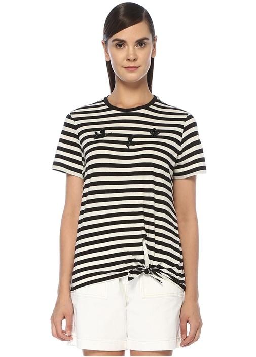 Siyah Beyaz Çizgili Patch Detaylı T-shirt