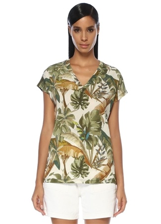 429dee1b4259e Haki V Yaka Önü Tropikal Desenli T-shirt