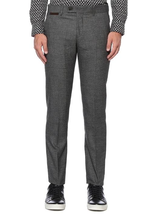 Gri Normal Bel Kırçıllı Klasik Pantolon