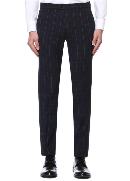 Lacivert Normal Bel Kareli Yarı Klasik Pantolon