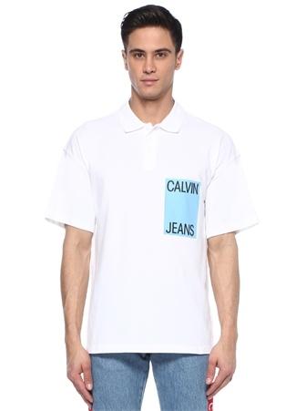 Beyaz Polo Yaka Logo Baskılı T-shirt