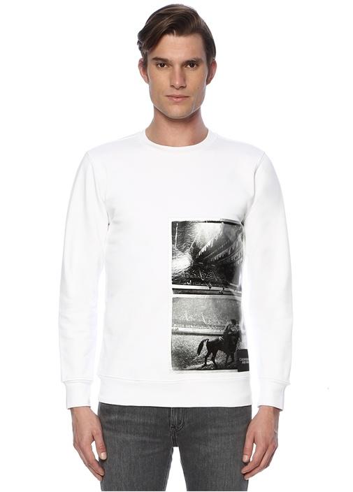 Beyaz Bisiklet Yaka Fotoğraf Baskılı Sweatshirt