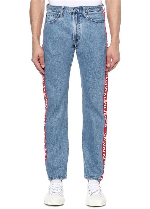 Straight Fit Mavi Logo Şeritli Jean Pantolon