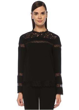 Beymen Collection Kadın Siyah Dantel Garnili Uzun Kol Krep Bluz 44