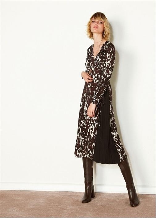 Kahverengi Leopar Desenli Midi İpek Anvelop Elbise