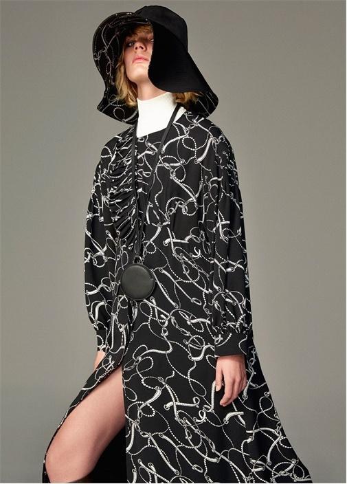 Siyah Fularlı Zincir Desenli Uzun Kol Mini Elbise