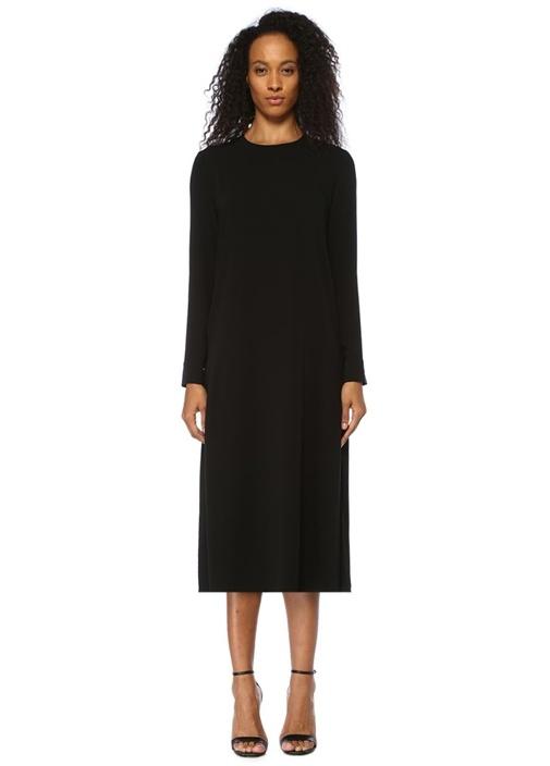 Siyah Yanları Pilili Uzun Kol Midi Krep Elbise