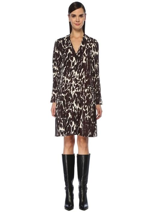 Kahverengi V Yaka Leopar Desenli Midi Elbise