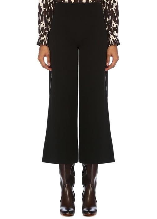 Siyah Zincir Şeritli Bol Paça Crop Krep Pantolon