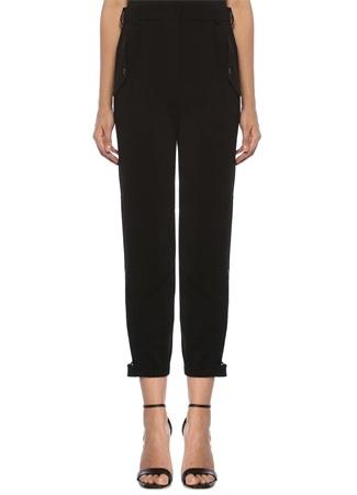 Beymen Collection Kadın Siyah Yüksek Bel Pileli Krep Kargo Pantolon 44