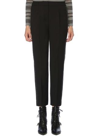 Siyah Yanı Zincir Şeritli İnce Yün Pantolon