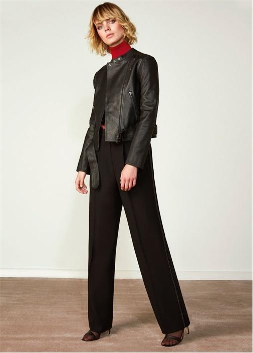 Siyah Zincir Şerit Detaylı Krep Pantolon