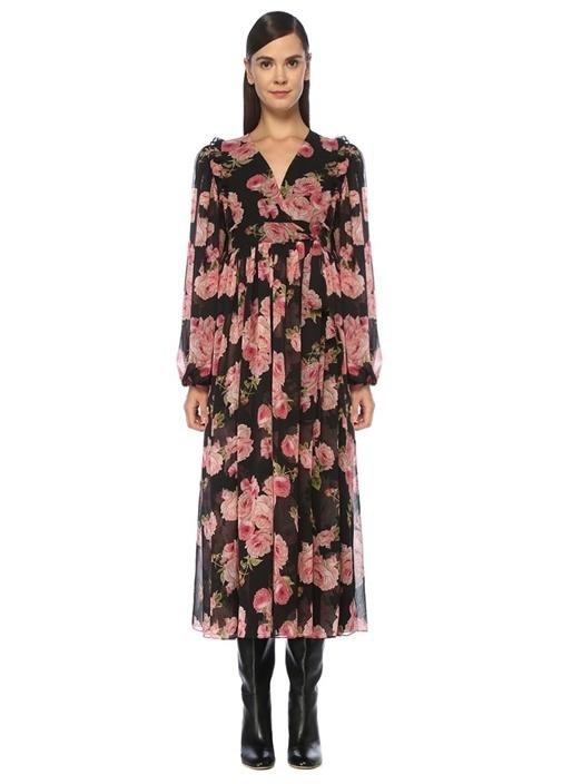 Siyah Pembe Gül Desenli Midi Anvelop Elbise