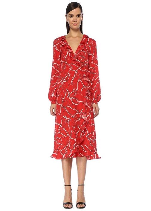 Kırmızı Zincir Desenli Midi İpek Anvelop Elbise