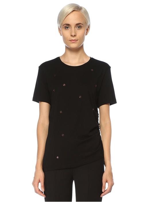 Siyah Çiçek İşlemeli Yanı Büzgü Detaylı T-shirt