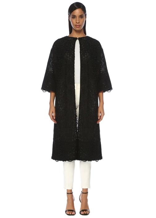 Siyah Transparan Düşük Kol Uzun Dantel Ceket