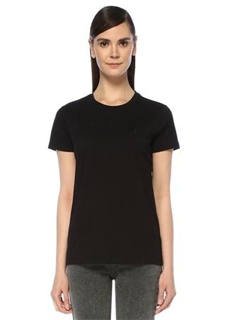 Siyah Bisiklet Yaka Dökümlü T-shirt