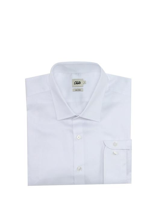 Beyaz Non Iron Armürlü Büyük Beden Gömlek
