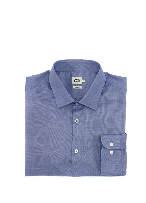 Mavi Non Iron Armürlü Büyük Beden Gömlek