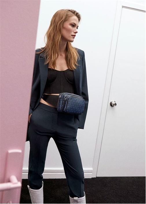 Mavi Kazayağı Desenli Klasik Dar Pantolon