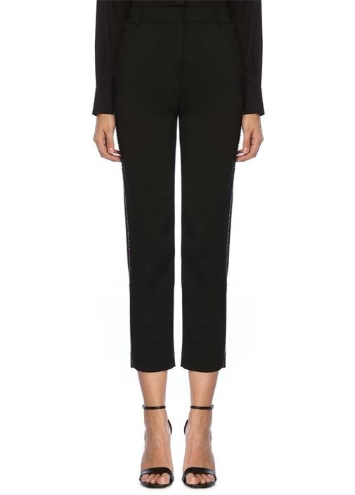 Siyah Yanı Renkli Taş Şerit Detaylı Pantolon
