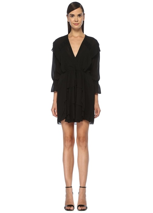 Siyah V Yaka Dantel Garnili Mini Krep Elbise