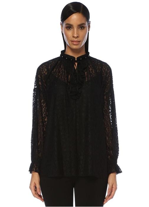 Siyah Yakası Troklu Bağcıklı Leopar Dantel Bluz