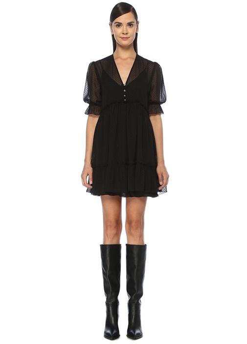Siyah V Yaka Puantiyeli Mini Şifon Elbise