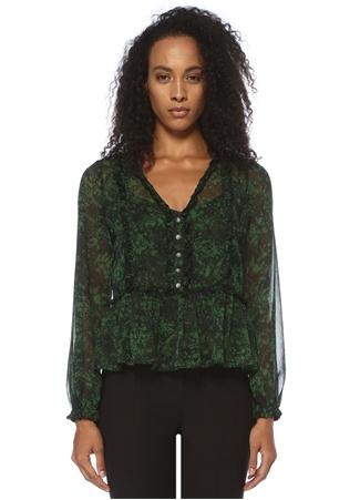Yeşil V Yaka Desenli Düğmeli Şifon Bluz
