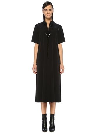 Academia Kadın Siyah İşleme Detaylı Midi Krep Gömlek Elbise 34