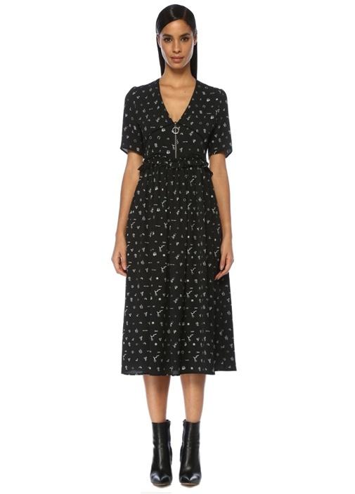 Siyah V Yaka Desenli Troklu Midi Krep Elbise