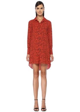 Academia Kadın Kırmızı Leopar Desenli Mini Krep Gömlek Elbise 34 female