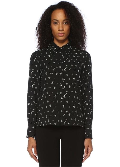 Siyah Desenli Klasik Gömlek