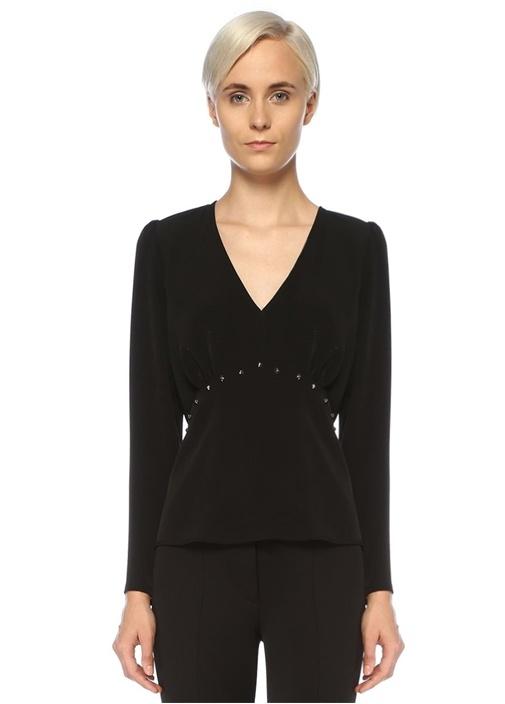 Siyah V Yaka Yıldız Troklu Uzun Kol Bluz